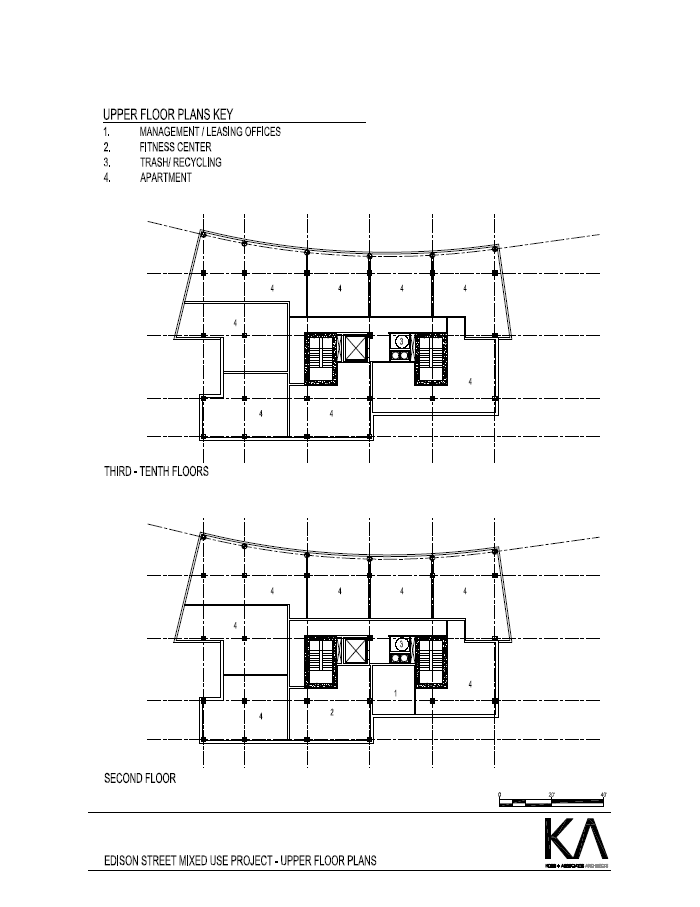 Upper floor plans for proposal by Klein Development for 1027 N. Edison St.