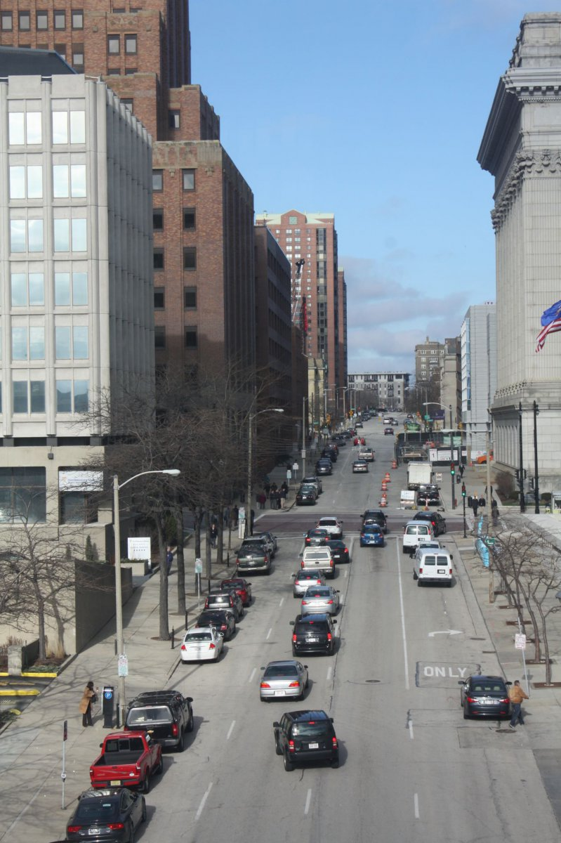 Van Buren Street looking north from Michigan Street