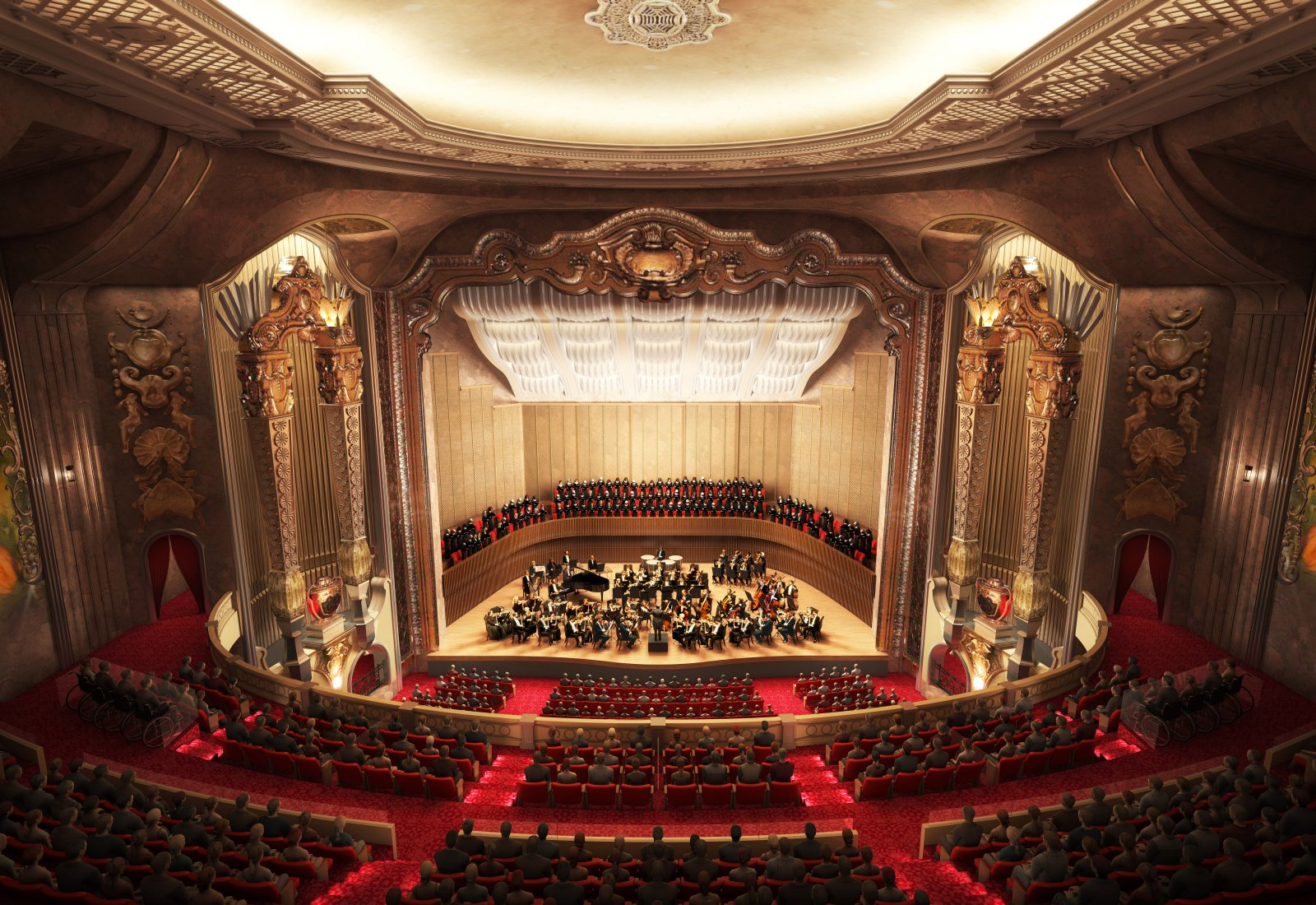 Rendering of the MSO\'s new Grand Warner Theater.
