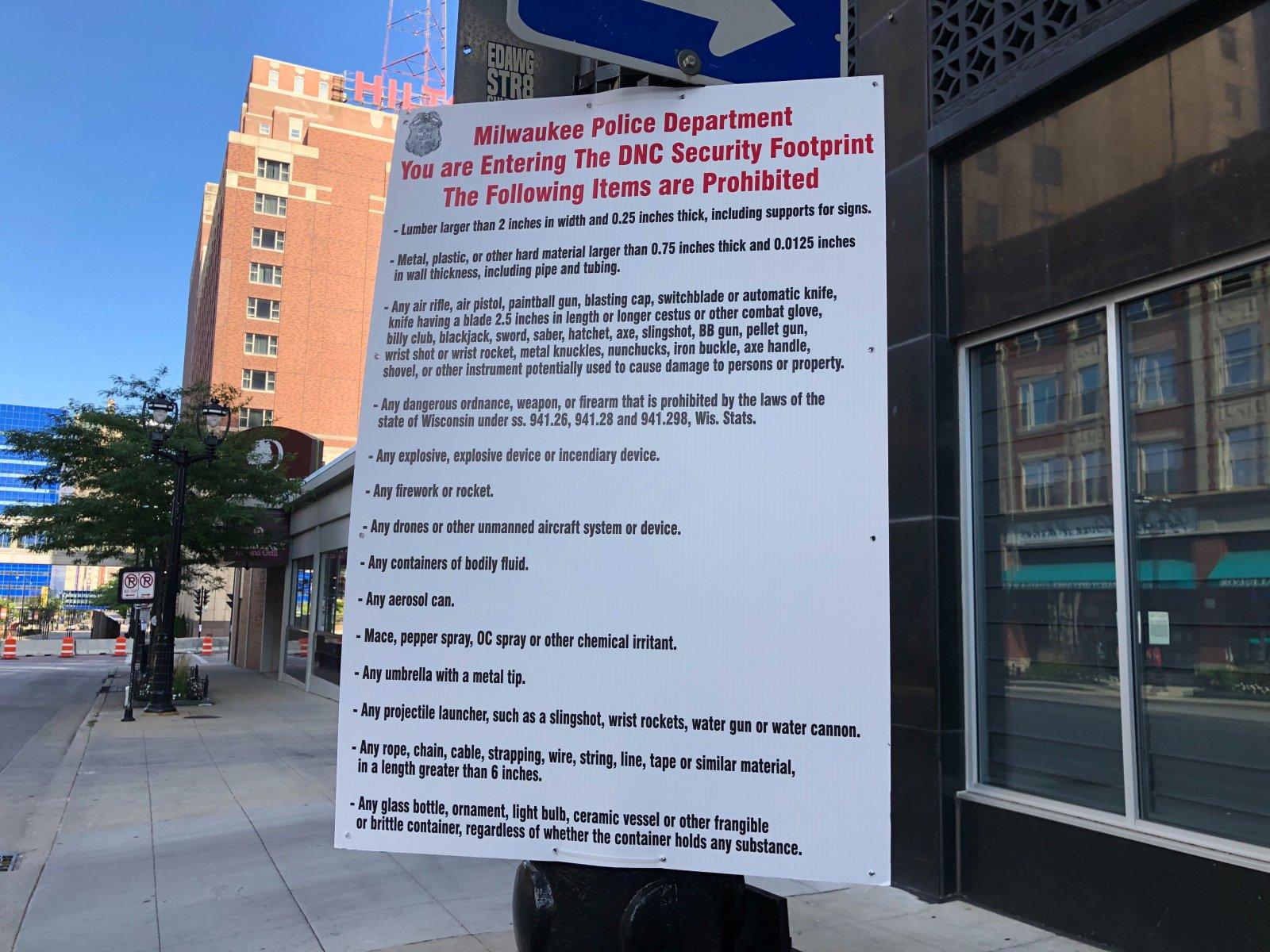 Prohibited Items inside DNC Security Perimeter