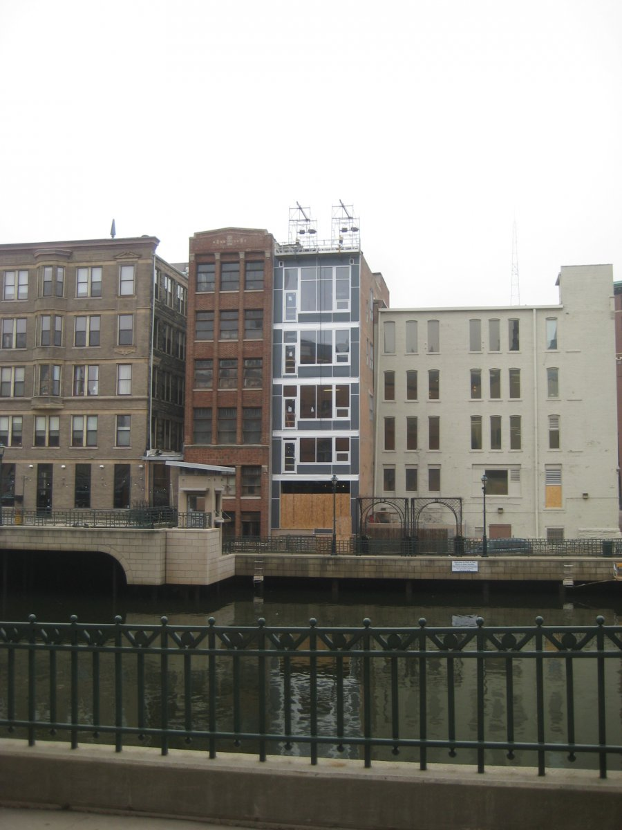 Living units in old riverfront commercial building.