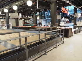 Partially-finished bar railing at 3rd Street Market Hall