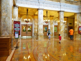 The Library gives tours during the week, which include an educational tour and an architectural tour. They groups meet in the Rotunda, which is the first large hall in the library
