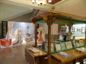 The entrance to the children's section is adorned with more Maurice Sendak characters and artwork