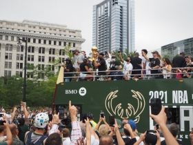 Giannis With Championship Trophy