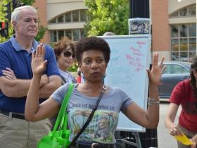 Mayor Tom Barrett (left) and Joan Johnson (center)