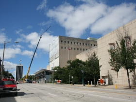Work continues on the solar wall at the Milwaukee Public Museum.