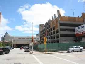 Demolition of the parking structure at W. Wells and N. 6th streets.