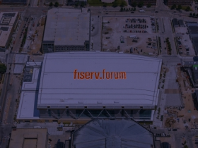 Fiserv Forum Rooftop Sign - Night Rendering