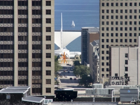 The Milwaukee Art Museum can been see from atop the Hilton City Center.