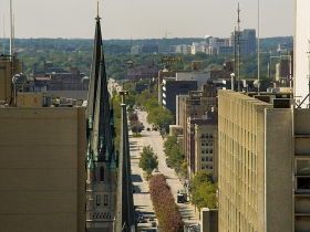A view from atop the Hilton City Center looking towards Marquette.