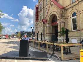 Art Heitzer at Turner Hall sign unveiling