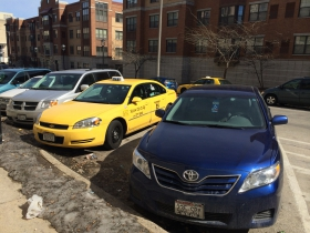 Taxis Parked Outside Lottery
