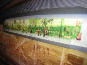 Close-up of an arena rendering.