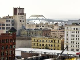 A view of the Hoan Bridge.