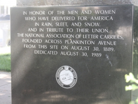 Letter carriers statue inscription
