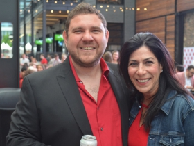 Milwaukee Pride President Wes Shaver and his friend Jennifer Stark at Dinner in the Alley 2019