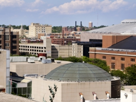 Looking northeast from a vantage point on top of the Central Library.
