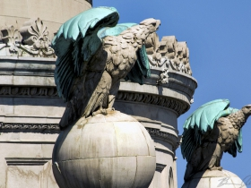 Eagles sit atop the Central Library.