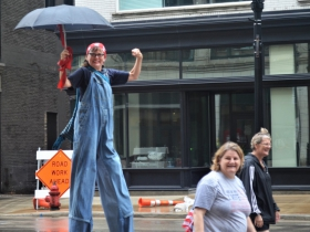 Rosie the Riveter on Stilts at Labor Day Parade 2018