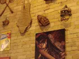 Vintage sports objects on the wall.