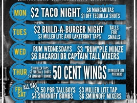 Weekly Specials (as of Fall 2015)