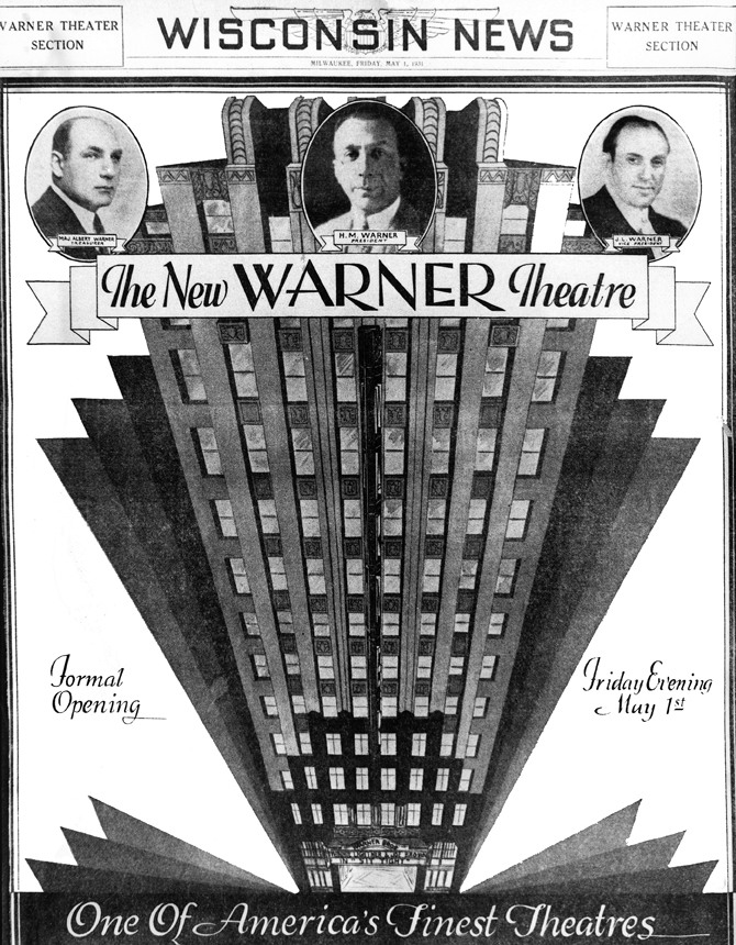 Warner opening advertisement. Courtesy Larry Widen collection, photo by Albert Kuhli.