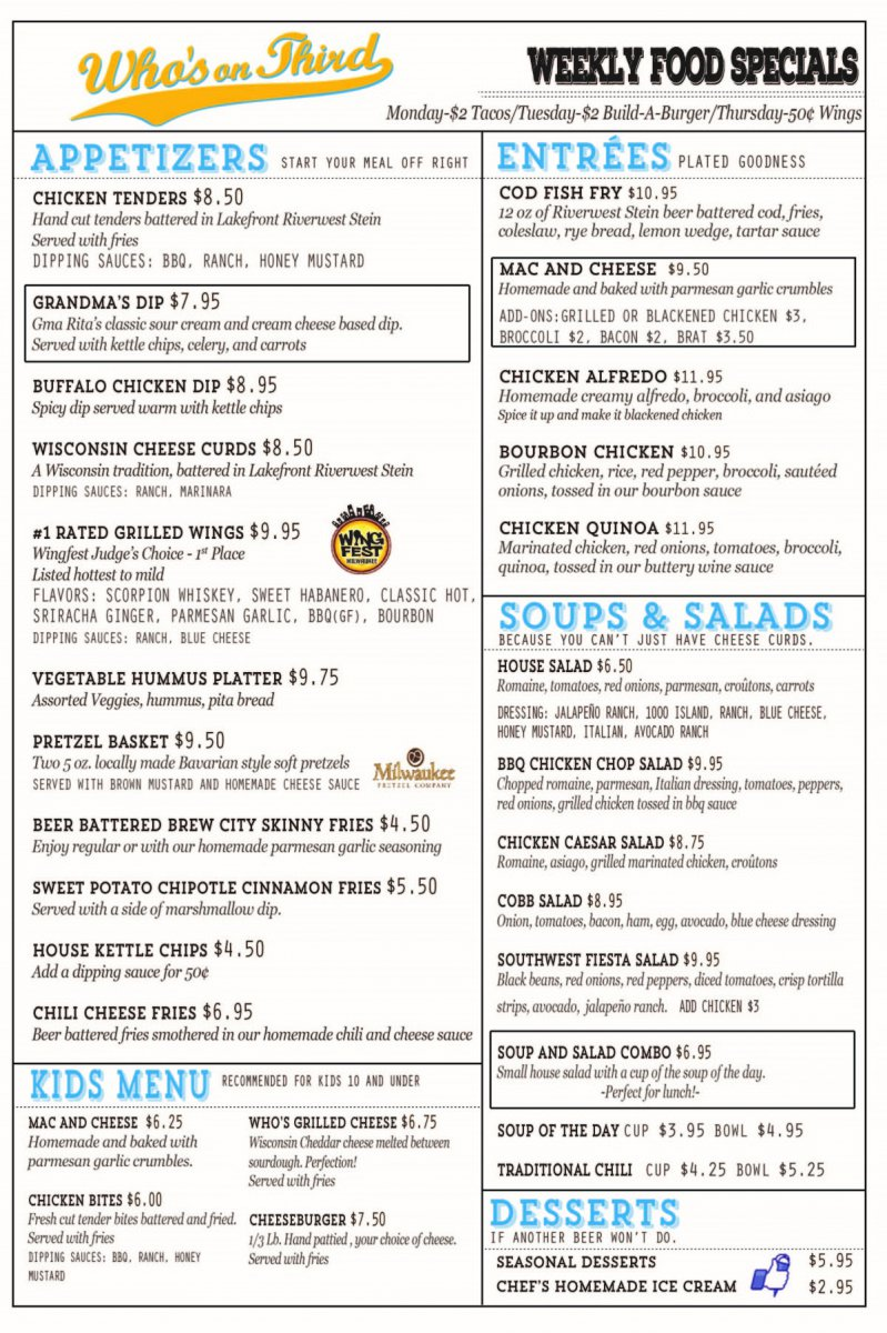 Menu (as of Fall 2015)