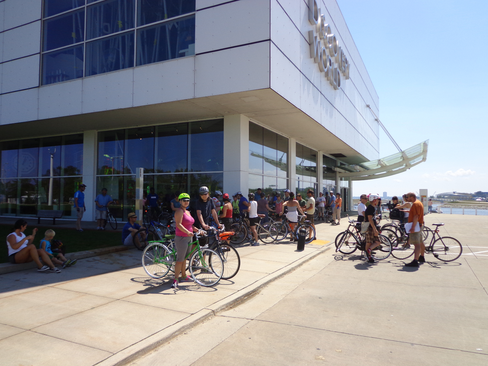 Bicyclists gather at Discovery World.