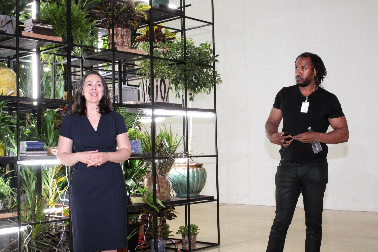 Dr. Marcelle Polednik and Artist Rashid Johnson