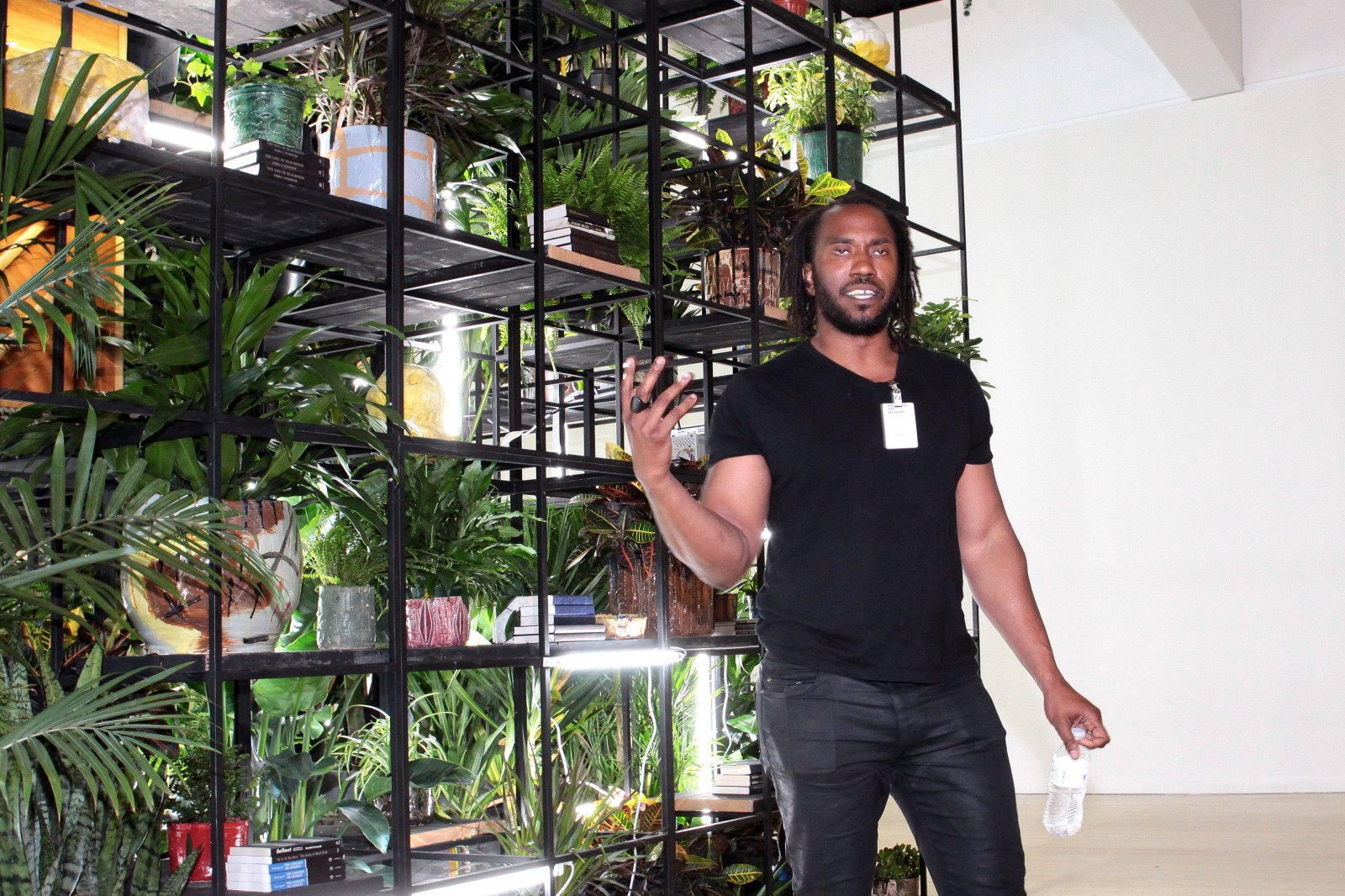 Artist Rashid Johnson speaks to the press about what inspired him, the materials utilized and the scale of his work in making Antoine\'s Organ