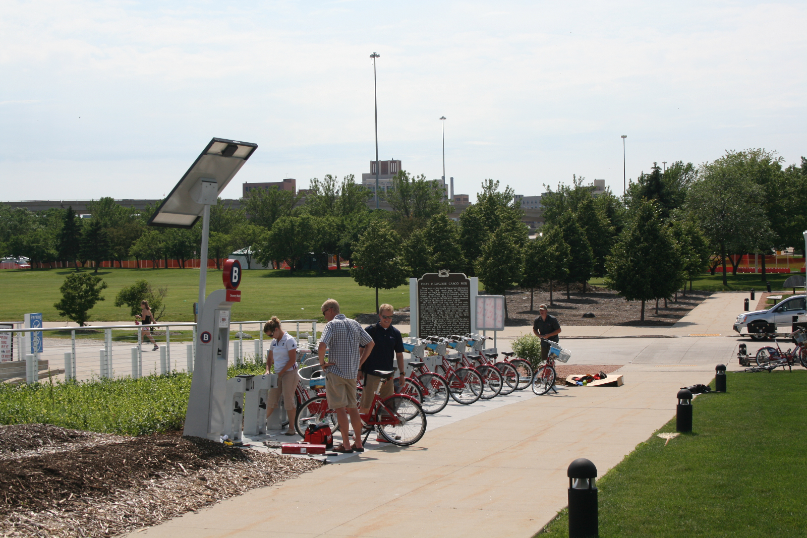 Bike-sharing station at Discovery World.