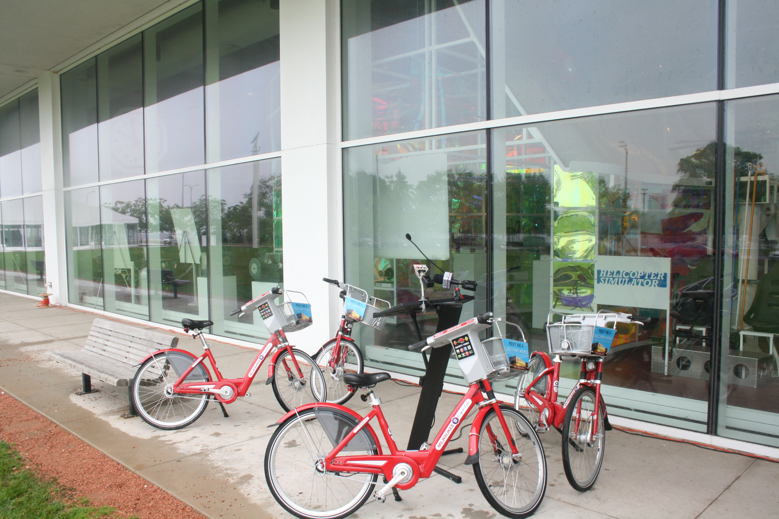 B-Cycle bikes set up for Bike-sharing press conference.