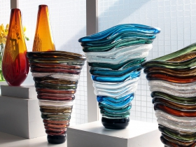 Tom and Julie Bloyd, from Stilwell, KS, featured blown glass, steel and sculpture