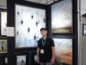 Li Wang, from China, featured his oil paintings