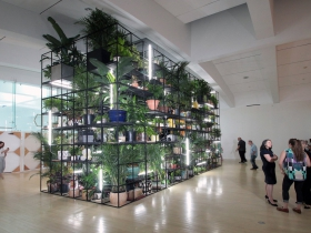 Antoine's Organ, named for classically trained pianist Antoine Baldwin, is the largest architectural grid installation of Artist Rashid Johnson to be shown in the United States