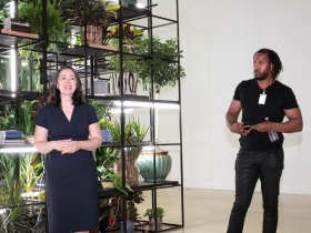 Dr. Marcelle Polednik and Artist Rashid Johnson