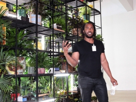 Artist Rashid Johnson speaks to the press about what inspired him, the materials utilized and the scale of his work in making Antoine's Organ