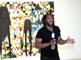 The Escape Collage paintings, consist of large-scale vinyl images of lush tropical environments by Rashid Johnson