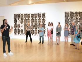 Artist Rashid Johnson, introduces his Anxious Audience works, portraits made of black soap and wax on white ceramic tile