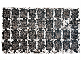Untitled Anxious Audience, 2016. White ceramic tile, black soap, and wax by Rashid Johnson