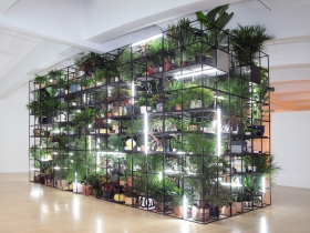 Antoine's Organ, a monumental work filled with artist Rashid Johnson's personal and political signifying objects, including videos, books and hundreds of live plants