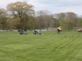 Riding through Veterans Park