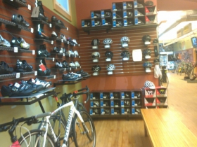 Biking shoes and helmets.