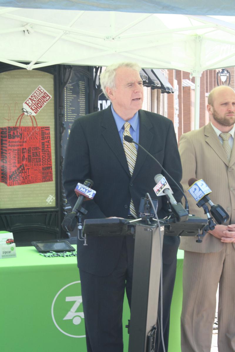 Mayor Barrett speaking about ZipCar.