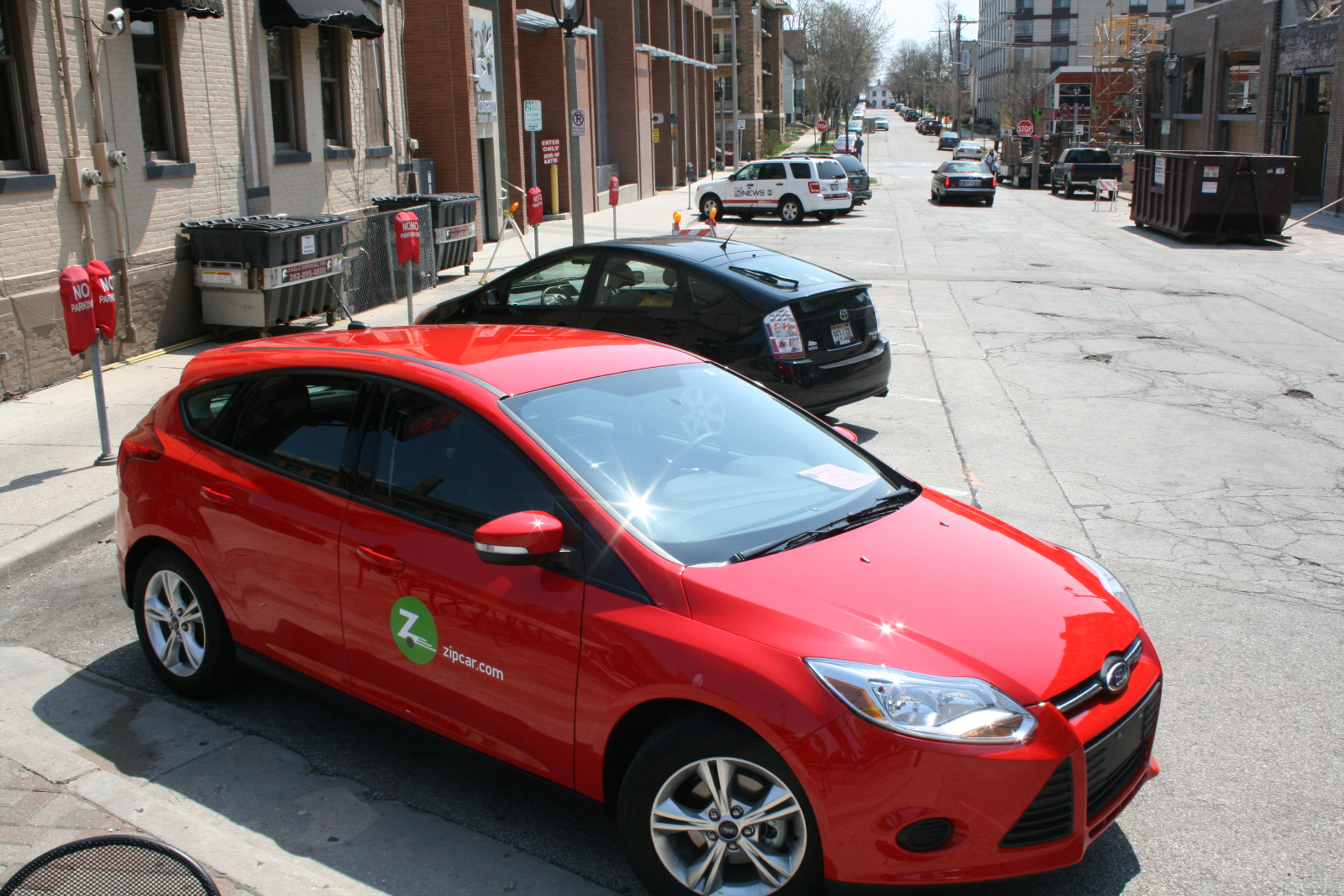 ZipCar parked on Milwaukee\'s East Side.