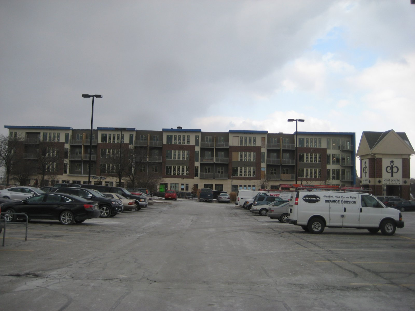 The Avenir from the East Pointe parking lot.