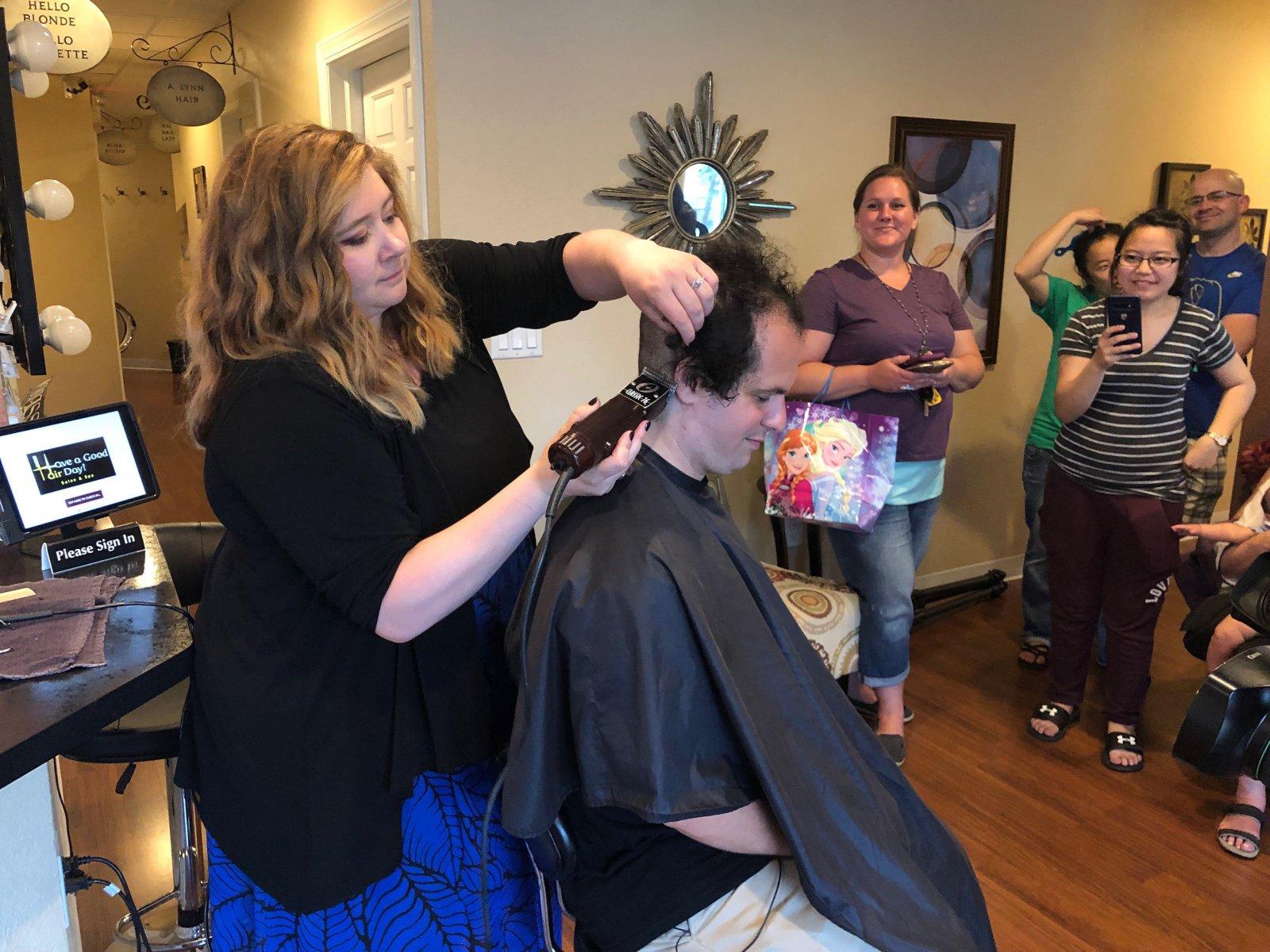 Kayleigh Kwasny Cuts Jonathan Brostoff\'s Hair