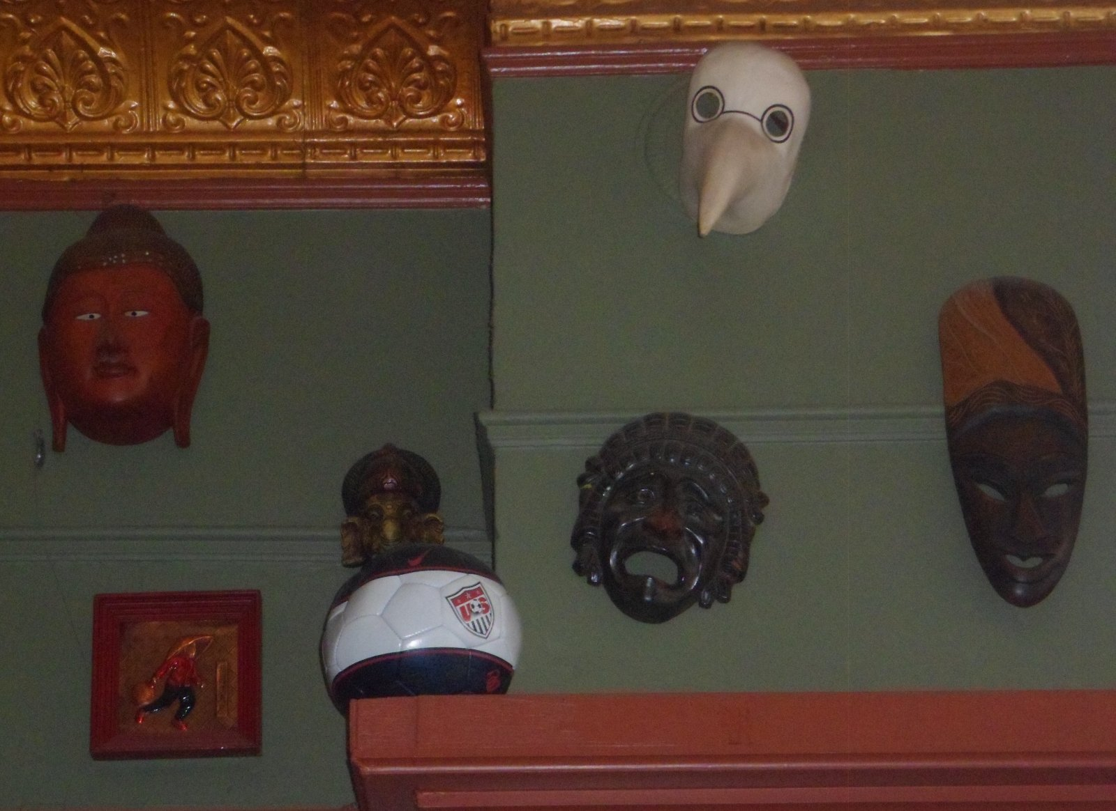 Masks on the wall of the Nomad.