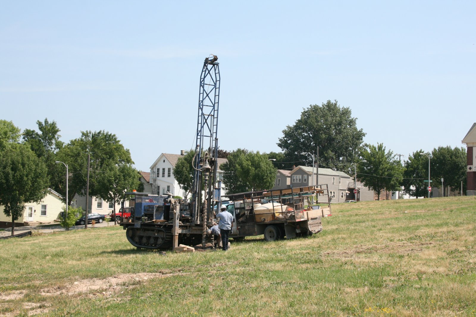 Early soil testing at the Park East Square site.